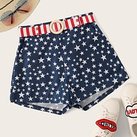 Star Print Striped Belted Shorts