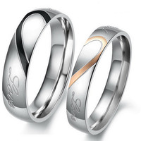 """1PCS Stylish Engraved Heart His OR Hers Titanium Steel Promise Ring ,""""Real Love"""" Couples Wedding Anniversary  [8963726599]"""
