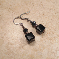 Black Earrings Gunmetal Dangle Drop Cube Rondelle Geometric Goth Jewelry Evening Fashion Formal Accessories Womens Gift