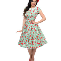 Hell Bunny 1950s Style Sage Green Francine Apple Print Swing Dress
