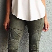 Motorcycle Pleated Jeggings - Olive