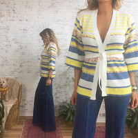 Vintage 1970's Space Dye Deadstock Striped Boho Hippie Cardigan || Baby Blue And Yellow || Size Small