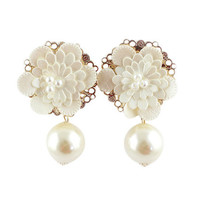 White Floral and Pearl Earrings