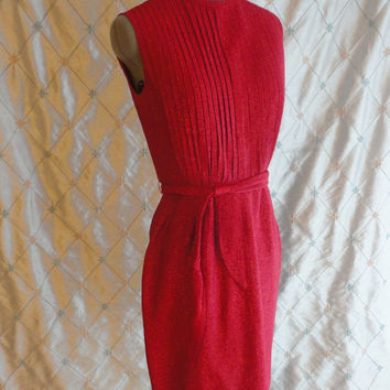 ON SALE 60s Dress // Vintage 1960s Garnet Red Sparkle Wiggle Dress with Pleated Bust by Matinee of Canada Size S 25 inch waist