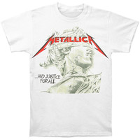 Metallica Men's  Justice Green Statue T-shirt White