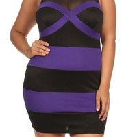 Mod Bodycon Striped Dress - Purple - Plus Size