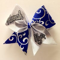 Blue and Silver Personalized Cheer Bow