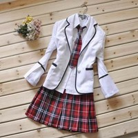 Japanese School Girl Uniform Red Tartan Dress White Costume Surcoat Cosplay  NEW