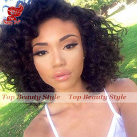 2016 New style bob curly wigs synthetic lace front wigs heat resistant glueless lace front wigs in stock synthetic hair wigs