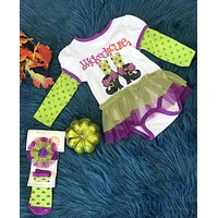 Wicked Cute Infant Witch Long Sleeved Onesuit w/ Socks & Bow