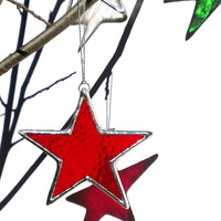 Red Star Stained Glass Christmas Ornament Holiday Decor Christmas Star Christmas Decoration Window Ornament Red Stained Glass Star Ornament