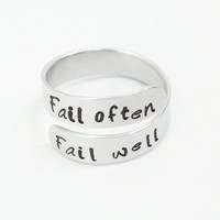RESERVED for Njounkwe - Customized ring - Fail often Fail well message ring - Adjustable aluminum ring