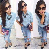 Girls Denim 2 PC Outfit