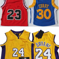 New Baby 24# Bryant Yellow Basketball Jersey #30 Curry Blue Jerseys #23 Michael Red Jerseys Embroidery Logos Jerseys For Infant