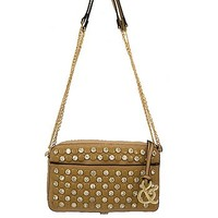 Rhinestone Studded Bling Messenger Satchel Bag Cross Body Chain Purse Taupe