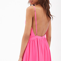 FOREVER 21 Backless Surplice Cami Dress Hot Pink