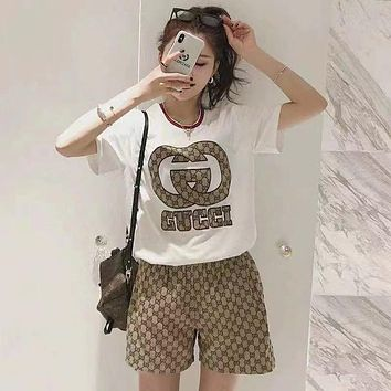 GUCCI With short sleeves Top Pants shorts Two-Piece