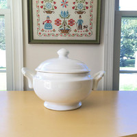 Large Round Tureen with Lid, White Soup Tureen, Ironstone China Footed Soup Bowl