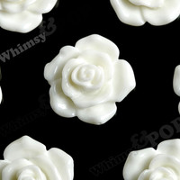 WHITE 16mm Pointy Rose Flower Cabochons