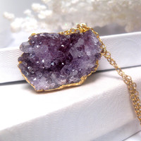 Purple Lavender Shades Of Raw Amethyst Druzy Geode Crystal Cluster Necklace With 24k Gold