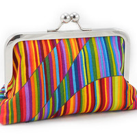 Colorful Wavy Stripe - Small Clutch