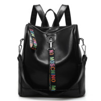 MOSCHINO Leather Travel Bag Backpack Black