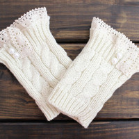 Women's Lace Boot Cuffs, Ivory Lace Boot Cuffs, Lace Boot Toppers, Boot Socks, Cable Knit, Knit Leg Warmers, Women's Boot Cuffs for Women