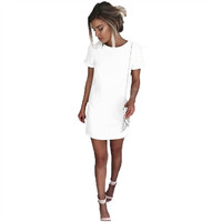 Women's Short Sleeve White Slightly Fitted Shift Dress with Exposed Back Gold Zipper