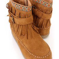 Tan Fringe Moccasin Style Ankle Booties Faux Suede
