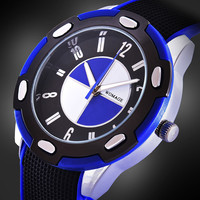 2016 Womage Men silicone watch  casual round dial relogios quartz New racing hot sale fashion male big dial stylish sports watch