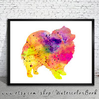 Pomeranian Watercolor Print, Pomeranian art, watercolor, Home Decor, dog watercolor, watercolor painting, animal watercolor, dog painting