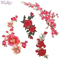 FENGRISE Plum Blossom Peach Red Roses Flower Patches Embroidered Sewing On Patch For Clothing Sticker Sewing Fabric DIY Applique