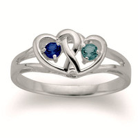 Couple's Interlocked Hearts Simulated Birthstone Ring in Sterling Silver (2 Stones)