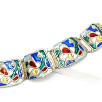 Oystein Balle Bracelet Norway Sterling Silver 925 Modernist Signed Stained Glass Enamel Panel Clasp Vintage Scandinavian RARE Jewelry