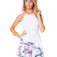 White Spaghetti Strap Backless Floral Print Mini Dress