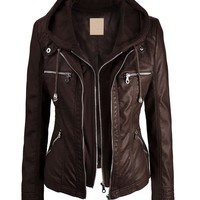 LL WJC663 Womens Removable Hoodie Motorcyle Jacket L COFFEE