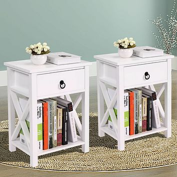 Set of 2 Wood Sofa End Side Bedside Table Nightstand W/Drawer Storage White