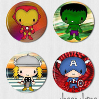 AVENGERS Pinback Buttons Set  Thor Captain America Ironman by jessejanes on Etsy
