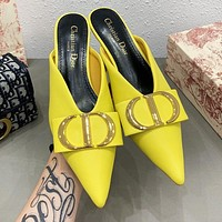 DIOR Hot Sale Women CD Letter Pointed High Heels Sandals Shoes Yellow