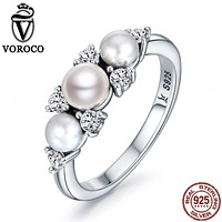 VOROCO Authentic 100% 925 Sterling Silver Natural Freshwater Pearls Rings For Women Engagement Wedding Fine Jewelry VSR094