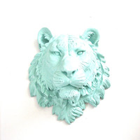 Faux Taxidermy Large Tiger Head wall mount home decor: Tommy the Tiger in sea breeze blue (light-light blue)