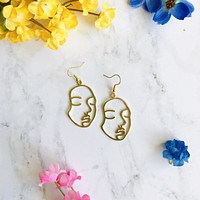 Woman Facial Silhouette Earrings