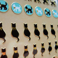 Cute Cat stickers From PARIS/Cute Korean Stickers/chat noir autocollant/mini cat stickers/cat stickers/animal stickers