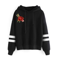 Women Floral Rose Embroidery Hoodies Autumn Winter Casual Hooded Sweatshirt College Preppy Women Clothes Female Tracksuit