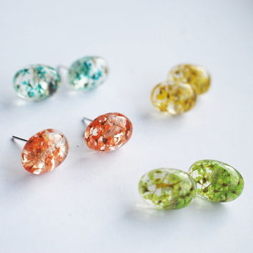 Candy Colors Pressed Flower Earrings Mini Eco Resin Ear Studs Turquoise Red Yellow Green Handmade Resin Jewelry