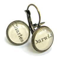 Charles Darwin Origin of Species Science Recycled Library Card Word Earrings Patina Brass