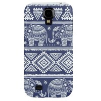 Blue Elephants Aztec Hard Case Cover for Samsung Galaxy S4