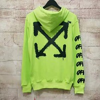 OFF WHITE Fashion Men Women Casual Print Hoodie Sweater Pullover Sweatshirt Fluorescent Green