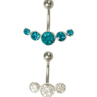 14G Steel Teal Clear CZ Navel Barbell 2 Pack