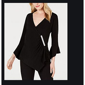Jm Collection Petite Diamonte Bell Sleeve Wrap Top, Created for Macys